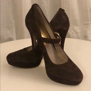 Chocolate Brown Suede Mary Jane Pump with Strap